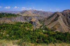 Garni-Tempel-atemberaubende Landschaftsschlucht stockfotos