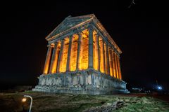 Garni Temple Armenia. Garni temple in Armenia at night Royalty Free Stock Photos
