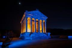 Garni Temple Armenia. Garni temple in Armenia at night Stock Image