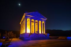 Garni Temple Armenia. Garni temple in Armenia at night Royalty Free Stock Photography