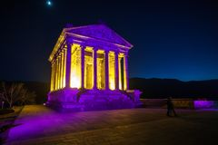 Garni Temple Armenia. Garni temple in Armenia at night Royalty Free Stock Image