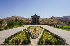 Garni Temple Main View with Garden stock photo