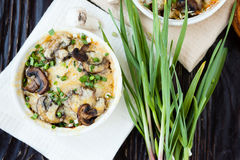 Garnish with mushrooms and cheese Stock Images