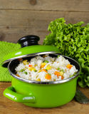 Garnish rice with various vegetables Royalty Free Stock Photography