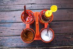 Free Garnish Set For Thai Noodles With Fish Sauce, Sugar, Chilli, And Vinegar Stock Photo - 163794880