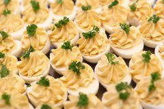 Garnished catered eggs. Background of cooked eggs with filling and parsley garnish Royalty Free Stock Photography
