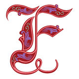 Garnished Gothic style font, letter F Stock Images