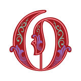 Garnished Gothic style font, letter O Stock Image