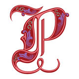 Garnished Gothic style font, letter P Stock Photos