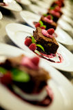 Garnished gourmet chocolate desserts. Freshly baked individual garnished gourmet chocolate desserts displayed in rows on a buffet table at a catered event royalty free stock photography