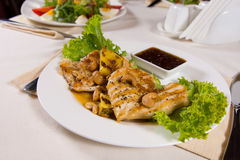 Garnished Main Course with Tasty Dipping Sauce Royalty Free Stock Photo