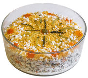 Garnished Olivier Salad In Round Glass Bowl Isolated On White Background Stock Photos