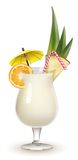 Garnished Pina Colada cocktail isolated on white Royalty Free Stock Image