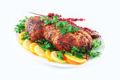 Garnished roasted duck Royalty Free Stock Photo
