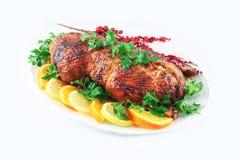 Garnished roasted duck Royalty Free Stock Photo