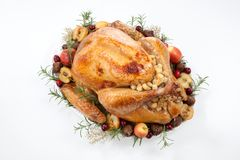 Roasted Turkey with Grab Apples over white royalty free stock images