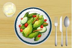 A garnished salad. Illustration of a garnished salad on a wooden table Stock Images