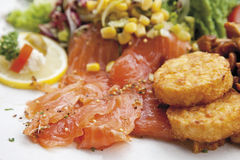 Garnished smoked salmon with motley salad and potato patties, served on plate Royalty Free Stock Photography