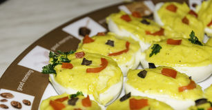 Garnished stuffed eggs close-up Stock Photography