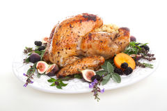 Garnished turkey on serving tray Royalty Free Stock Photos