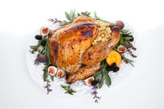 Garnished turkey on serving tray. Glazed roasted turkey on serving tray over white background. Garnished with figs, blackberry, persimmon, sage, and basil Stock Photos