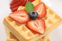 Garnished waffles Stock Photography