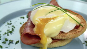 Garnishing Eggs Benedict stock video footage