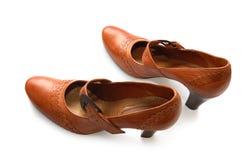 garnissez en cuir la femme de chaussures de paires Images libres de droits