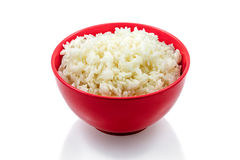 Garnissez, riz bouilli, fond blanc images libres de droits