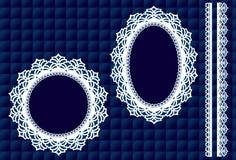 Garniture de lacet sur le bleu (jpg+vector) Photo stock