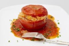 Garniture et fourchette de tomate bourrée photos libres de droits