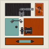 Garnitures de meubles Serrure et accessoires de porte Image stock