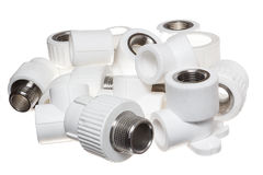 Garnitures du polypropylène (PVC) sur le fond blanc photo stock
