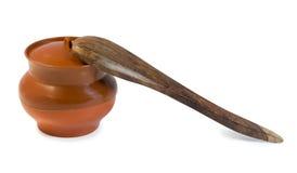 garnka drewniany łyżkowy obraz stock