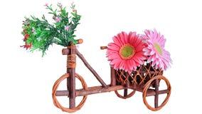 Garnki, drewniany rower Obraz Royalty Free