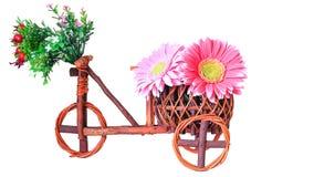Garnki, drewniany rower Fotografia Stock
