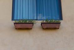 Garnki okno Zdjęcie Royalty Free