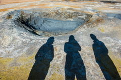 Garnki w geotermicznym terenie Hverir, Namafjall, Iceland Zdjęcia Stock