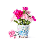 Garofano in vaso di fiore del mosaico Immagine Stock