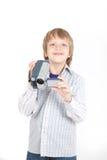 Garçon avec la caméra vidéo Photographie stock