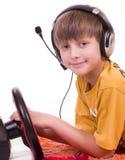 Garçon écoutant la musique Images libres de droits