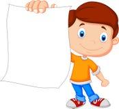 Garçon de bande dessinée tenant le papier blanc Photo libre de droits