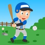 Garçon de base-ball en stationnement Photographie stock libre de droits