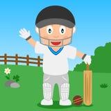 Garçon de cricket en stationnement Photo libre de droits