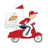 Garçon de distribution drôle de pizza Image libre de droits