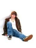 Garçon de l'adolescence avec l'assiette Image stock