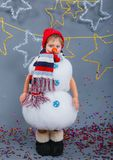 Garçon en bonhomme de neige de costume Images stock
