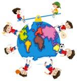 Garçon faisant différentes activités autour du monde Image libre de droits