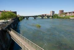 Garonne river and Pont(bridge) des Catalans Royalty Free Stock Photos