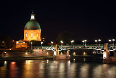 The Garonne river in Toulouse during the night Royalty Free Stock Image